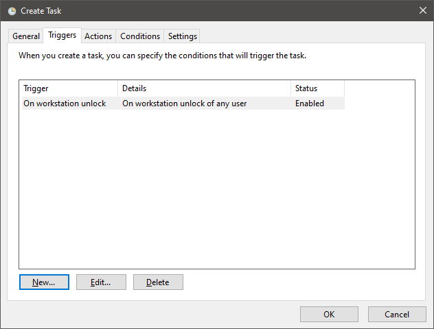 Triggers Task Settings